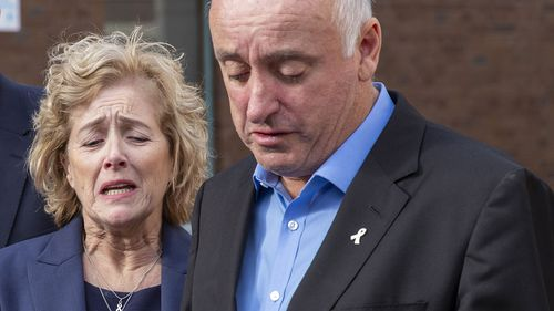 The parents of Grace Millane, David and Gillian Millane speak to media outside Auckland High Court.
