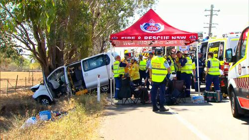 NSW Fire & Rescue were quick to the scene to treat the injured. (9NEWS)