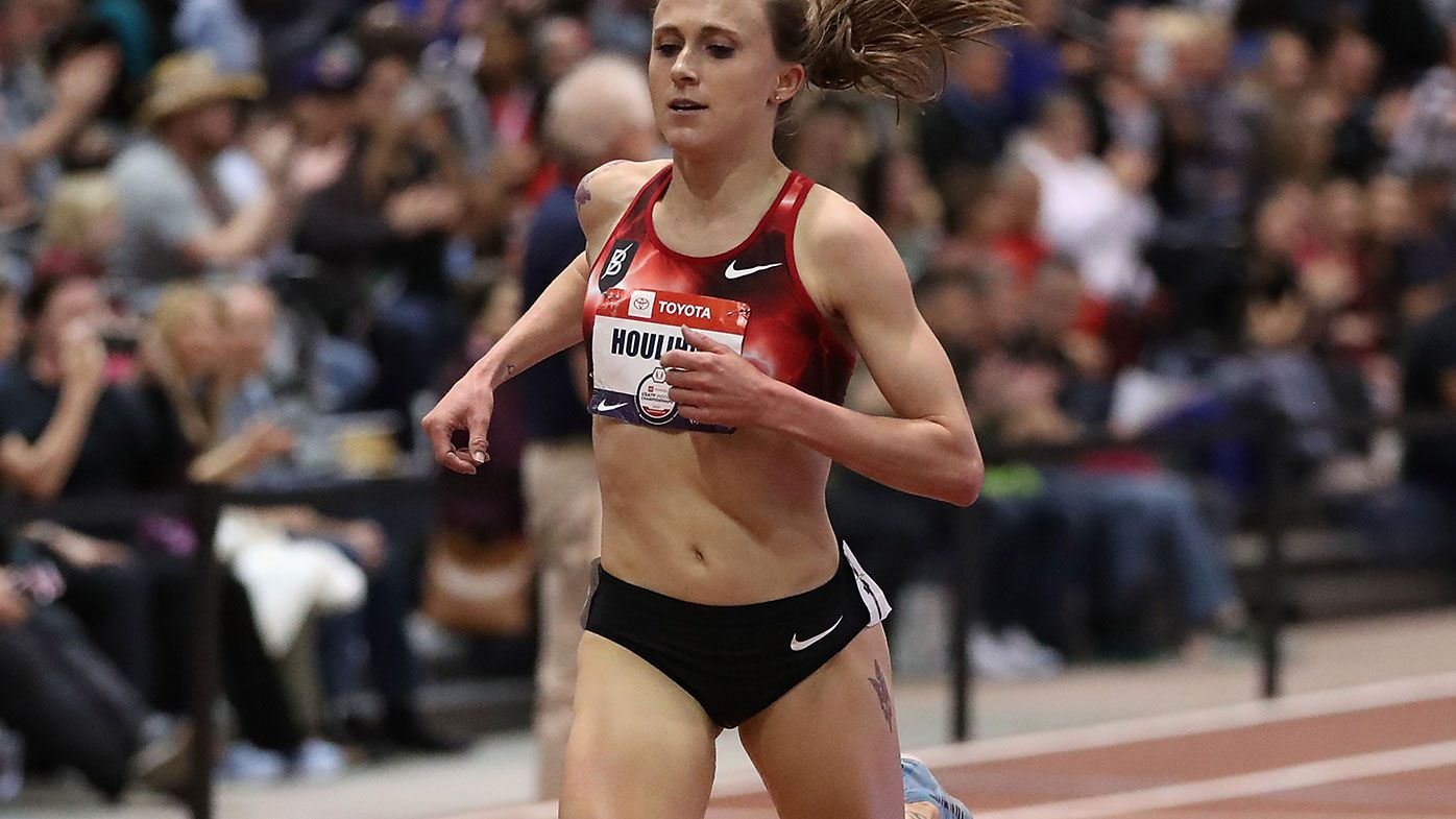 Shelby Houlihan crosses the finish line to win the Women's 3000 Metres during the 2020 Toyota USATF Indoor Championships.
