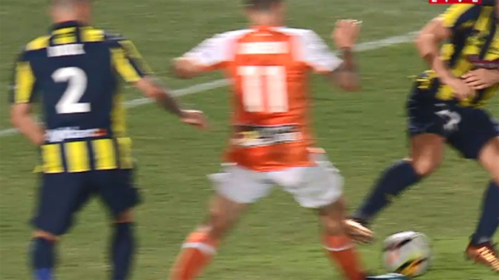 Central Coast Mariners Wout Brama awaits fate for tackle on Gameiro in loss to Brisbane Roar