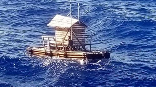 Mr Aldi aboard his stricken timber fish trap on which he survived at sea for 49 days.