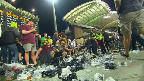 The fans left plenty of rubbish in their wake after the first day,