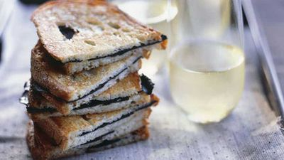 """Recipe:&nbsp;<a href=""""http://kitchen.nine.com.au/2016/05/17/15/01/toasted-truffle-sandwiches"""" target=""""_top"""" draggable=""""false"""">Toasted truffle sandwiches</a>"""
