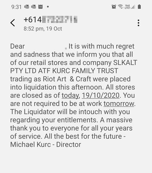 The text message sent to staff informing them they had lost their jobs and all stores were to close.