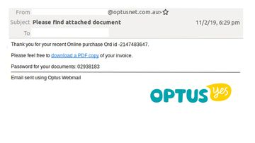 The email appears to have come from Optus.