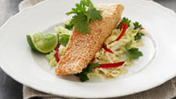 Sesame crusted salmon with Asian coleslaw