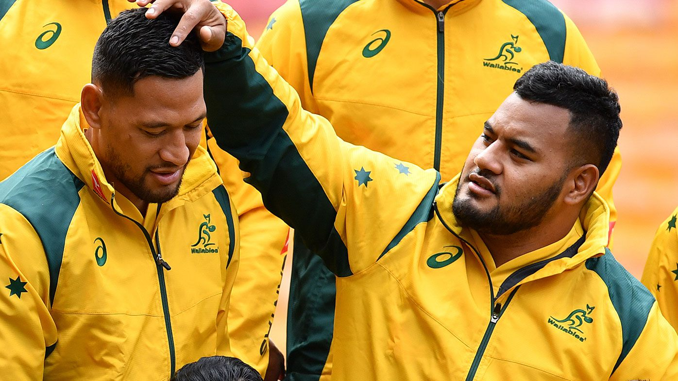 Wallabies Israel Folau and Taniela Tupou in September 2018