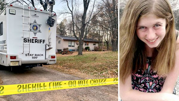 A police vehicle parked outside the house where Jayme Closs' parents were found dead, sparking a three-month search for the teenage (pictured right).