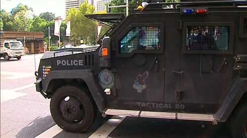 An armoured police vehicle at the scene. (Nine News)