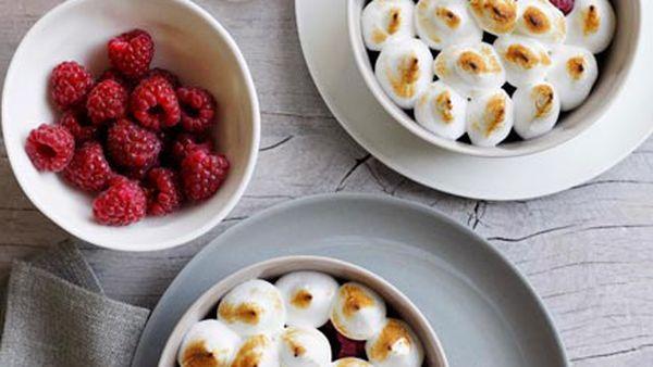 Raspberries with eucalyptus meringue