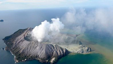 White Island, the most active cone volcano in New Zealand, is pictured shortly after the blast.