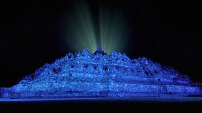 More than 200 iconic buildings, monuments, museums, bridges and natural formations were lit up for the event, including the 9th-century Borobudur Temple, in Central Java, Indonesia. (AAP)