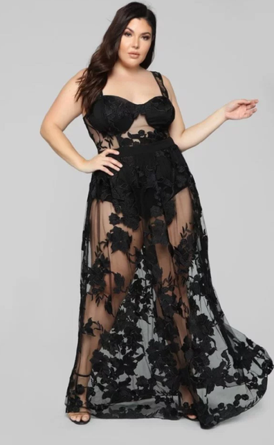 Black see through gown