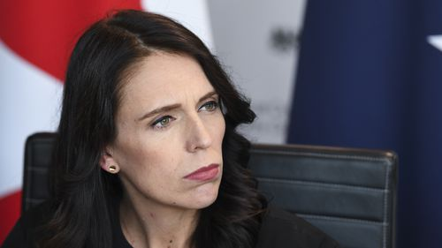New Zealand Prime Minister  Jacinta Ardern at the Intelligence Partners meeting. (AAP)