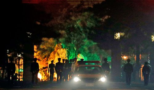 A convoy under heavy security is seen passing into the Diaoyutai State Guesthouse in Beijing where top North Korean leaders have stayed on previous trips to Beijing, China. (AP).