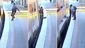 Commuter slips onto tracks rushing to make departing train