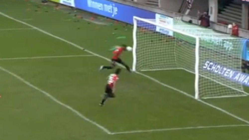 Jerk footballer steals teammate's goal