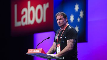 John Setka speaks at the Labor Party National Conference last year.