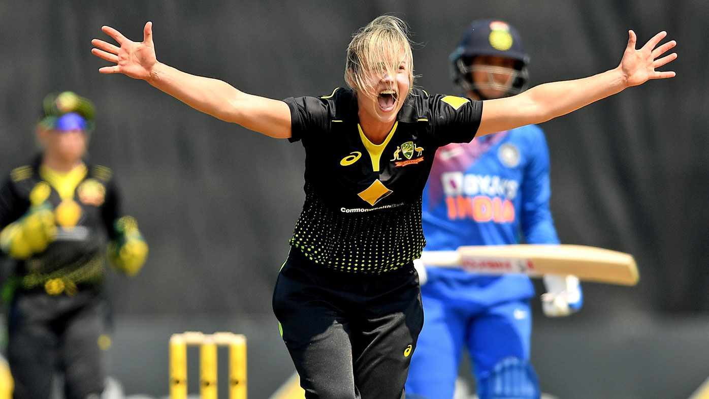Ellyse Perry of Australia appeals for an lbw during game five of the Women's One Day International series