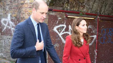Prince William, Duke of Cambridge and Kate Middleton, Duchess of Cambridge visit the launch of the Hold Still campaign at Waterloo Station on October 20, 2020 in London, England.