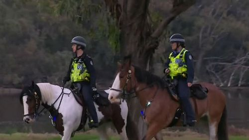 Mounted police, water police and air police all helped in the search.