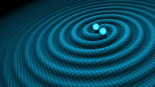 A undated handout graphic shows an artist's impression of gravitational waves generated by binary neutron stars.