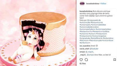 Unicorn lady on plush pink cake