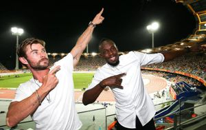 Chris Hemsworth and Usain Bolt join forces during the 2018 Commonwealth Games