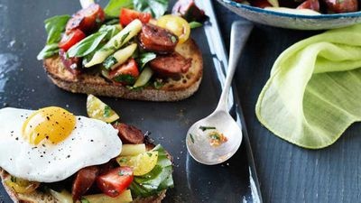 "Recipe: <a href=""http://kitchen.nine.com.au/2017/05/19/10/01/hayden-quinn-tomato-breakfast-salad-with-chorizo-herbs-eggs-and-bread"" target=""_top"">Hayden Quinn's tomato breakfast salad </a>with chorizo, herbs, eggs and toast"
