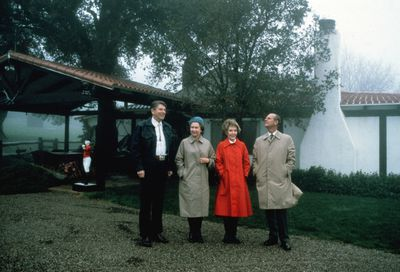 Visiting President Ronald Reagan in 1983