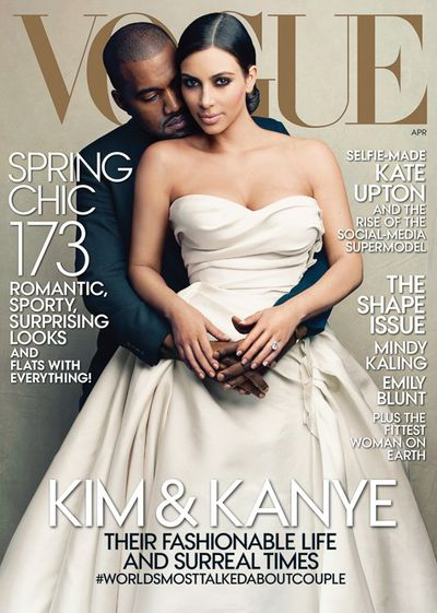 <p><strong><em>#Worldsmosttalkedaboutcouple</em></strong></p> <p>Kanye West and Kim Kardashian, <em>US Vogue</em> April 2014</p>
