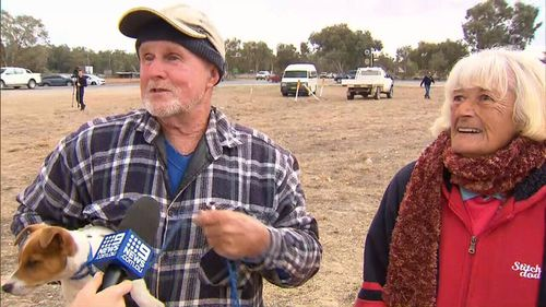 Truckie Leonie Timmins tears up speaking to farmer Chris Lee.