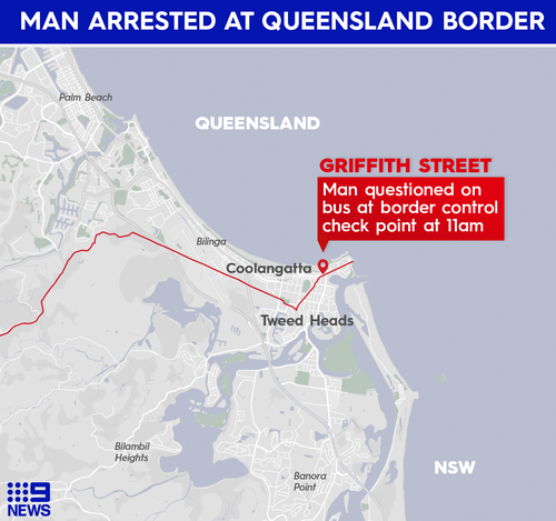Man fined at Griffith Street Queensland-NSW border checkpoint.