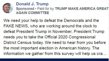 The ad presents itself as 'the Official 2020 Congressional District Census'.