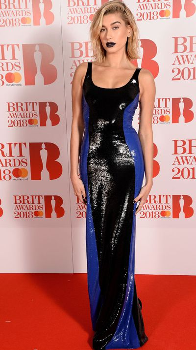 Hailey Baldwin in Ralph Lauren at the 2018 Brit Awards
