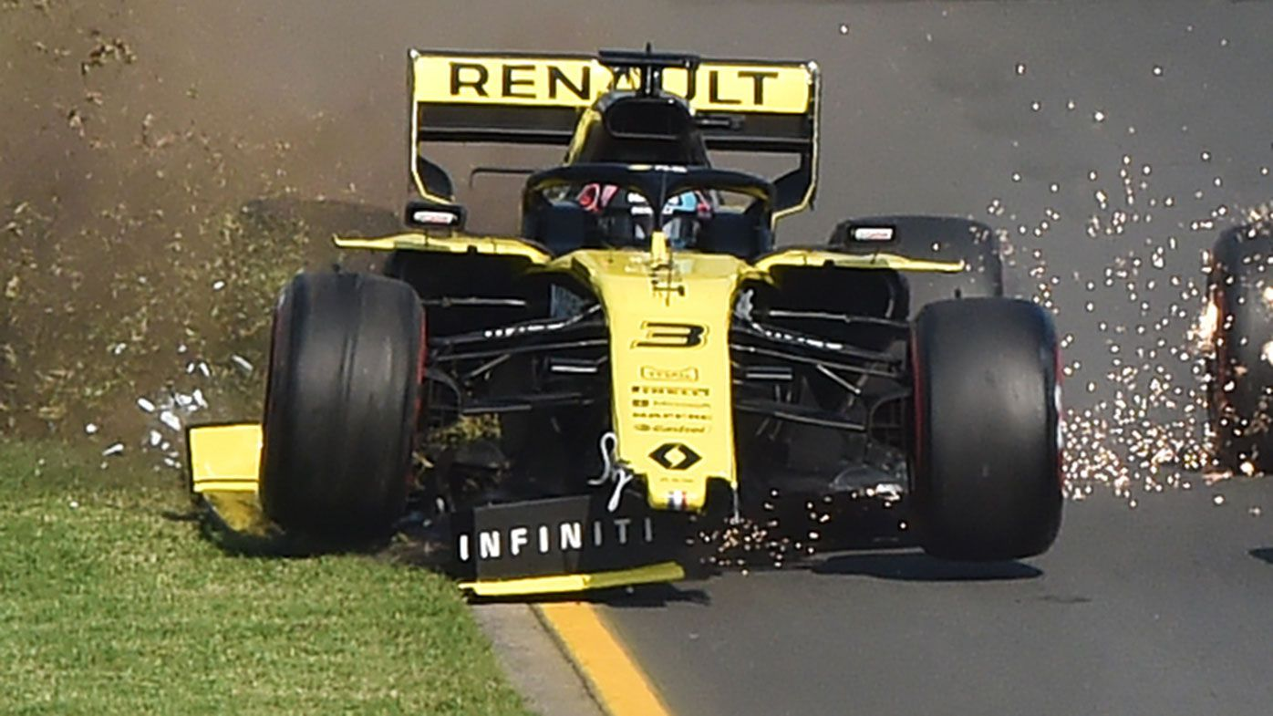 Daniel Ricciardo lost his front wing at the start of the Australian Grand Prix