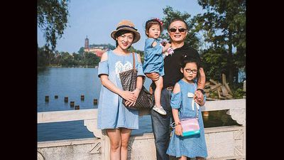 Blue denim was all the rage for HuaHua and her daughters in 2014 - just like it was for mum nearly two decades ago.