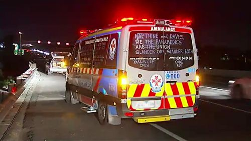 Victorian paramedics wrote slogans on windows of ambulances to remind the public of the long-running pay dispute. (9NEWS)