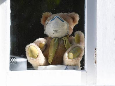 A teddy bear sits inside a window at a house wearing a face mask in Sydney.