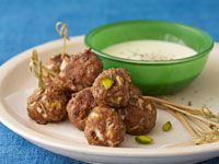 Lamb and oregano meatballs with creamy fetta dipping sauce