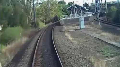 Vision from inside the train's front cabin shows the driver was unaware the man had fallen. Picture: Supplied.
