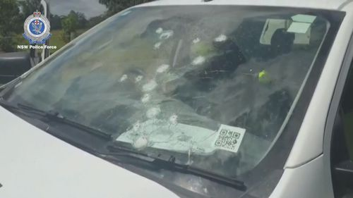Bullets were also sprayed at the windscreen of the vehicle.