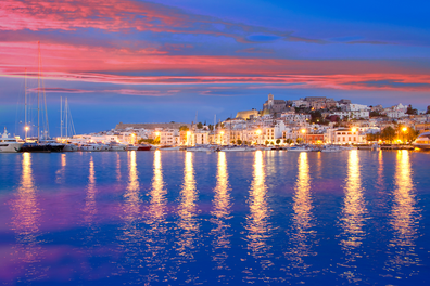 Mediterranean night view of Ibiza Island
