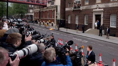 Hundreds of journalists, photographers and royal fanatics camped outside the exclusive maternity hospital for days. (AAP)