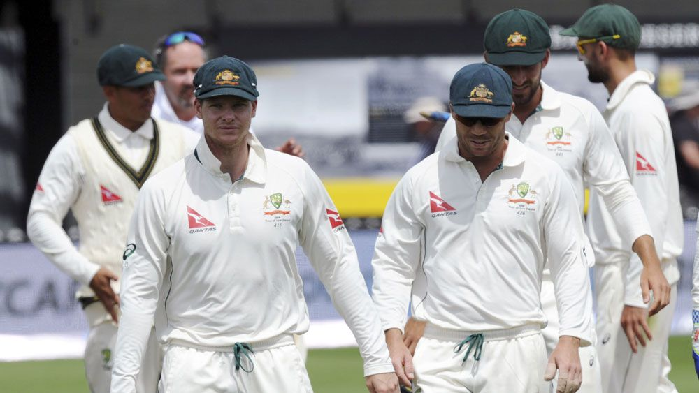 Steve Smith leads the Australians off the field. (AAP)