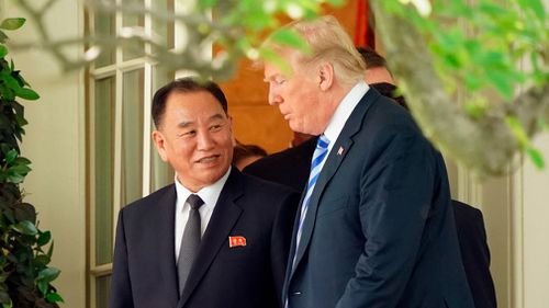 Mr Trump says after an Oval Office meeting today with North Korean politician Kim Yong Chol that he'd be making a mistake not to go forward with the on-again, off-again nuclear summit in Singapore. Picture: AP