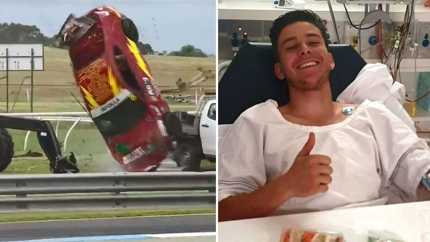 Iafolla sent flipping at Sandown, and right, in hospital after the crash