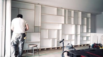 Watch this blank wall get a functional DIY makeover