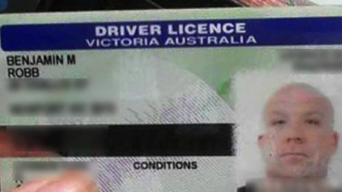 Mr Robb's Victorian driver's licence. (Supplied)