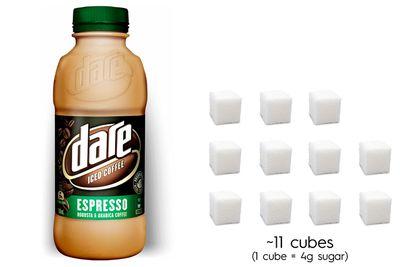 Dare Iced Coffee: 43.5g sugar per 500ml bottle
